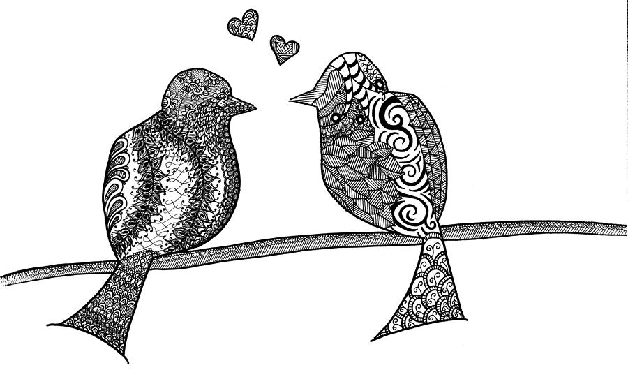 Love Birds Drawing By Heidi Forever