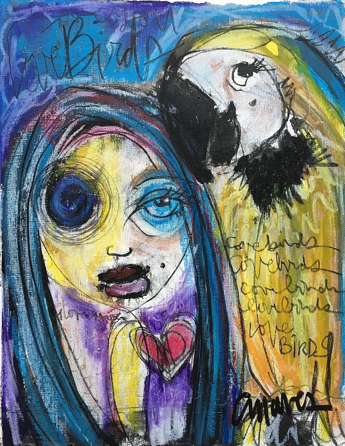 Woman Painting - Love Birds by Laurie Maves ART