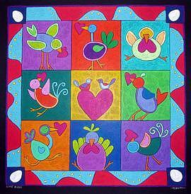 Love Painting - Love Birds by Nancy  Coffelt