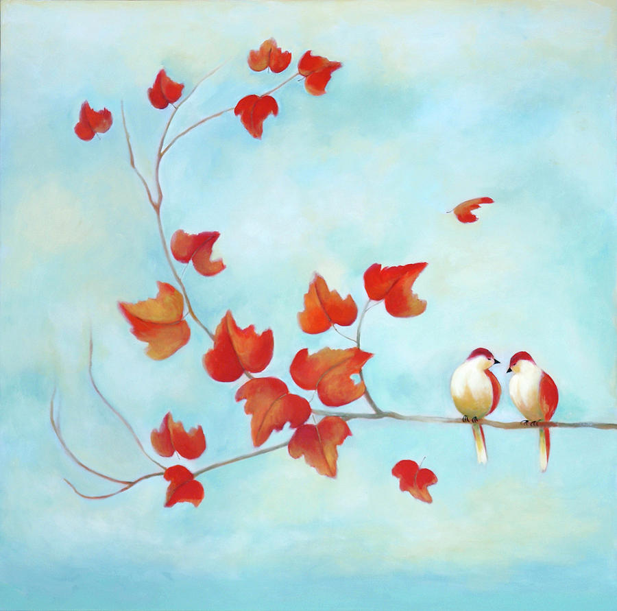 Love Birds Sky Blue Painting By Michal Shimoni