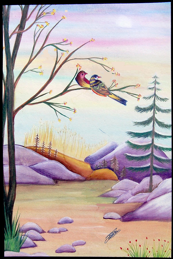 Landscape Painting Painting - Love Birds by Sonam Shine