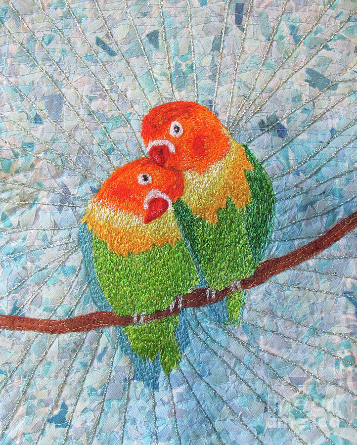 Love Birds Tapestry - Textile - Love Birds2 by Dolores Fegan