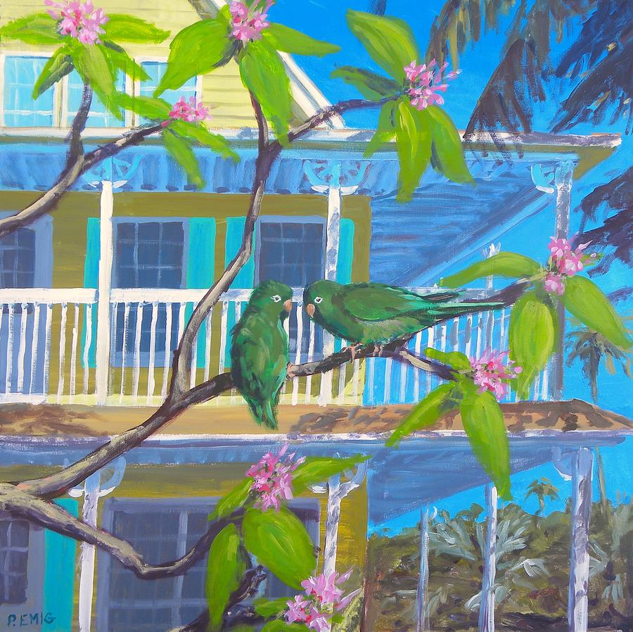 Parrots Painting - Love Blooms by Paul Emig