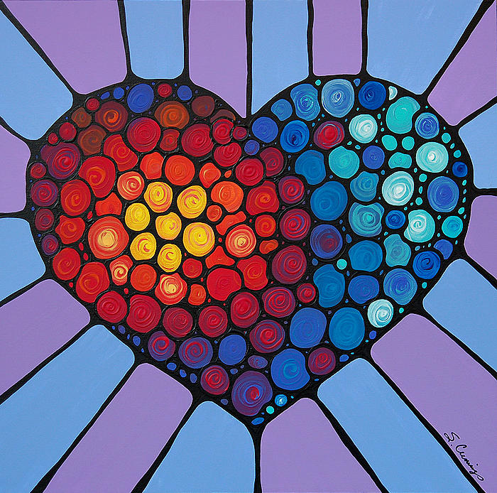 Heart Painting - Love Conquers All by Sharon Cummings