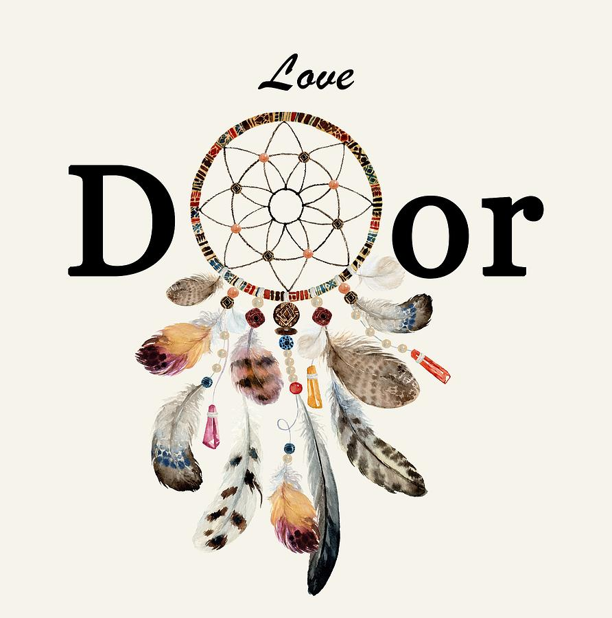 Dreamcatcher Painting - Love Dior Watercolour Dreamcatcher by Georgeta Blanaru