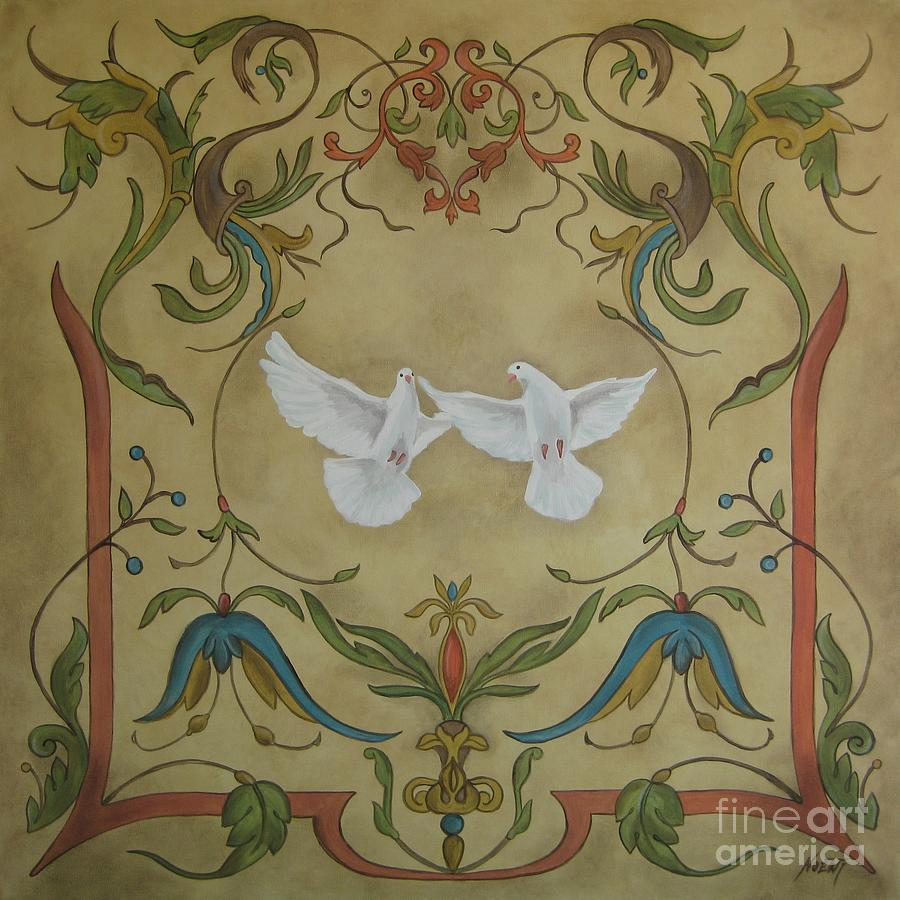 Design Painting - Love Doves by Jindra Noewi