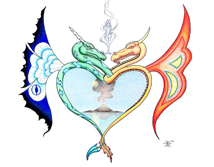 Fantasy Drawing - Love Dragons by Robert Ball