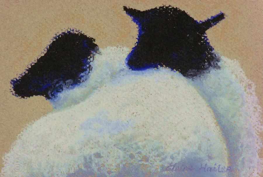 Sheep Painting - Love by Elaine Cummins