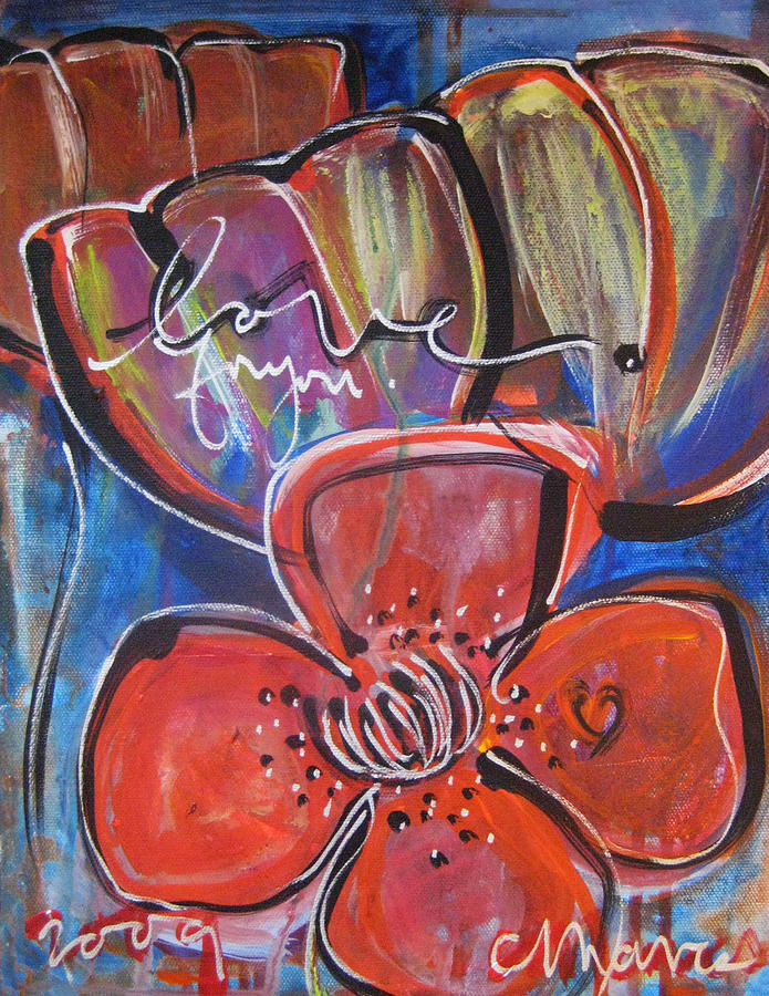 Poppies Painting - Love For You No.1 by Laurie Maves ART