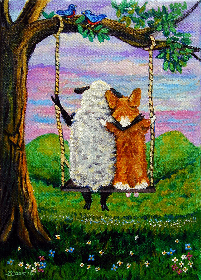 Pembroke Welsh Corgi Painting - Love Grows Where You Least Expect It by Lyn Cook