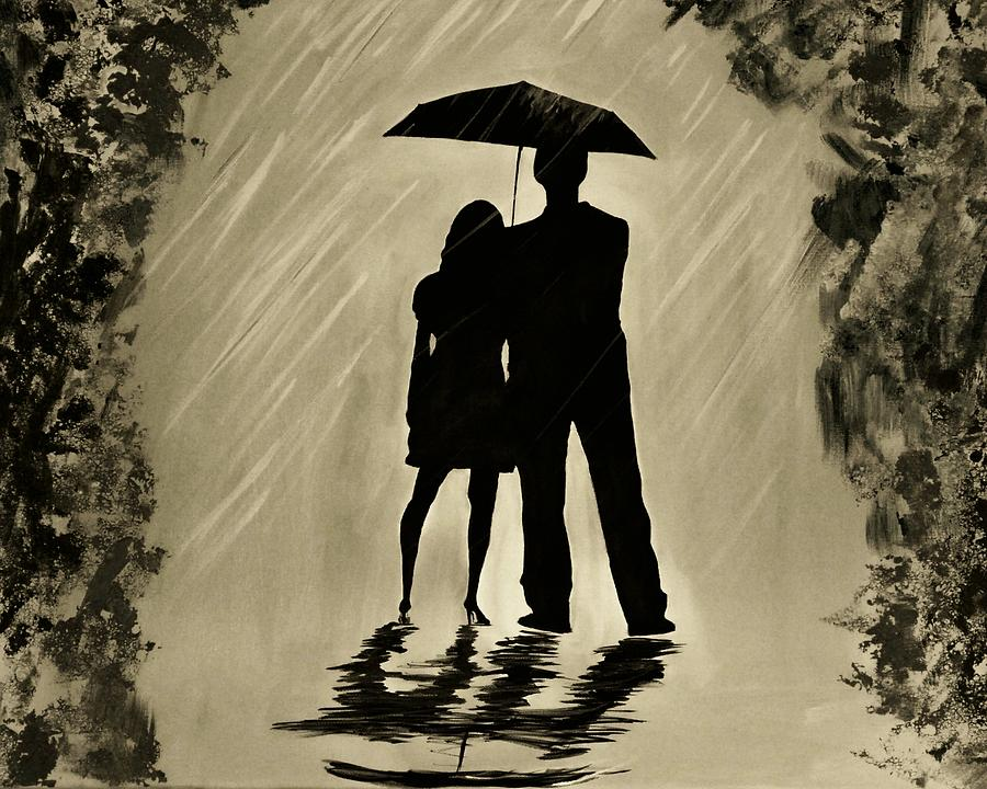 Couple In Love Painting - Love In The Rain D by Leslie Allen