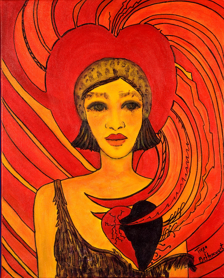 Woman Painting - Love Infusion by Treza Bettencourt