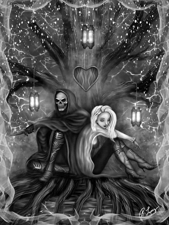 Black and white fantasy art