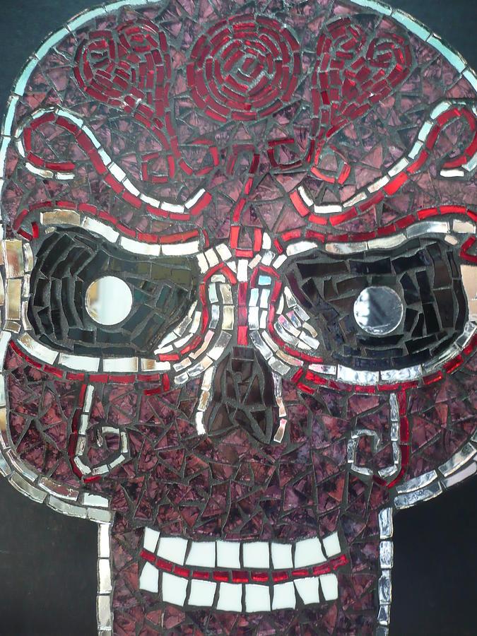 Skull Glass Art - Love Is In The Air by Ann Salas