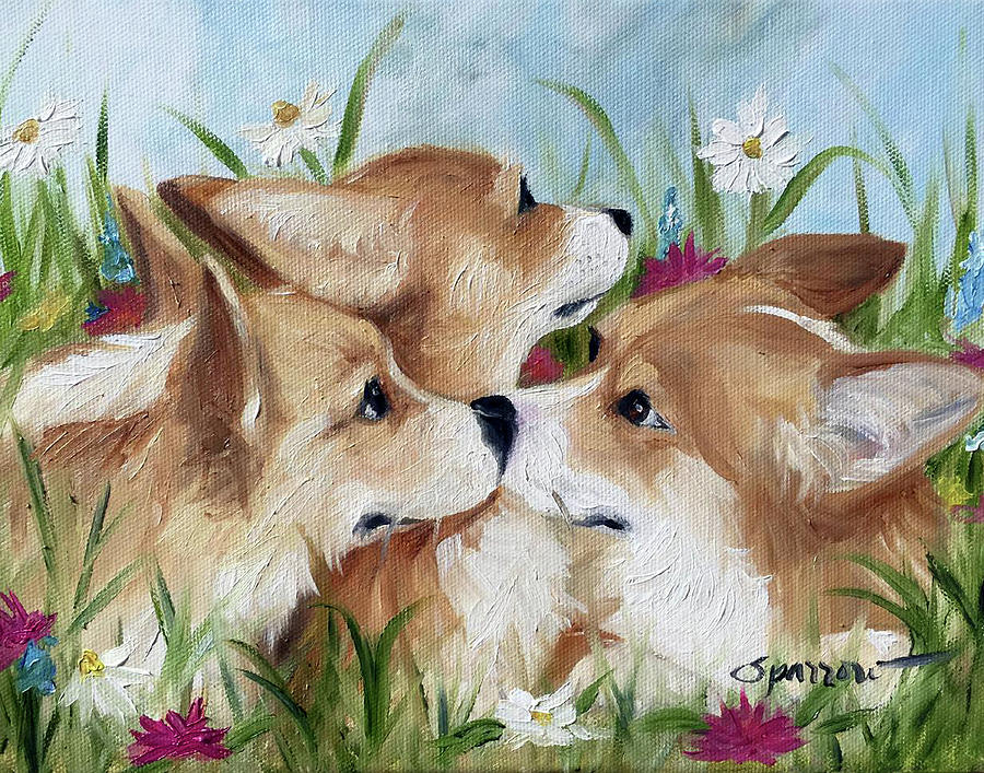 Corgi Painting - Love Is In The Air by Mary Sparrow