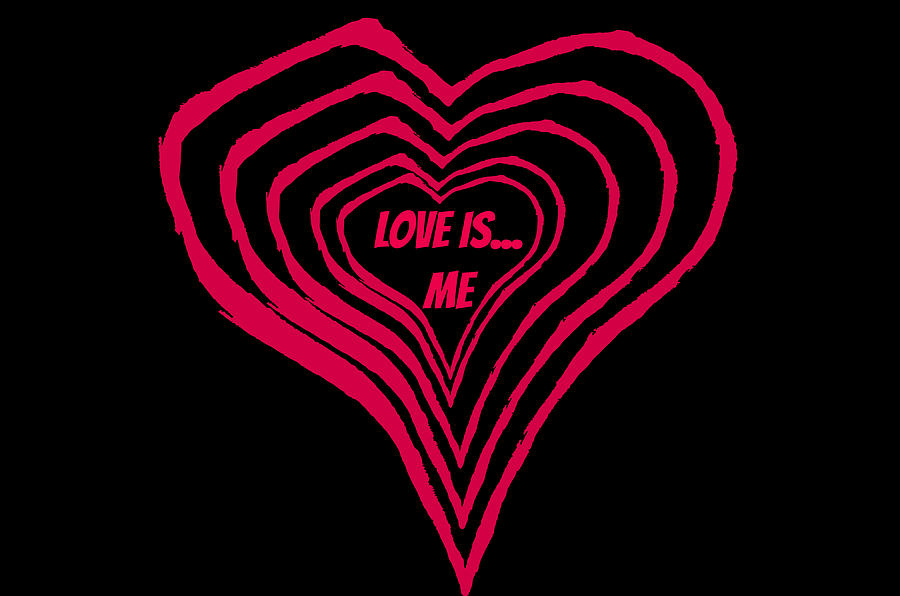 Love is Me Pink Hearts by Catherine Asoka Void