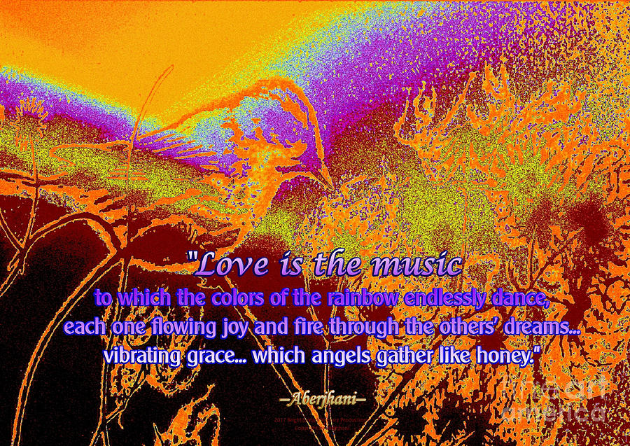 Rainbows Digital Art - Love Is The Music by Aberjhanis Official Postered Chromatic Poetics