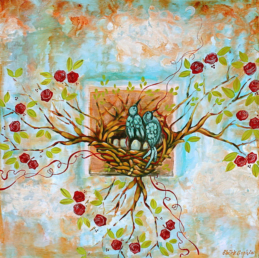 Nest Painting - Love Is The Red Thread by Shiloh Sophia McCloud