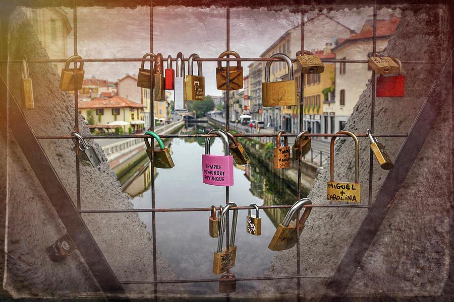 Milan Photograph - Love Lock Triangle At Naviglo Grande Milan Italy  by Carol Japp