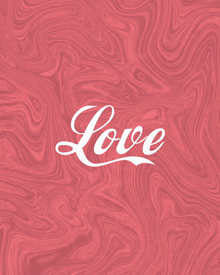 Love - Minimalist Print - Red - Typography - Quote Poster Mixed Media