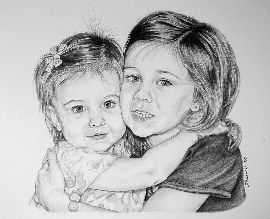Portrait Drawing - Love My Sister by Shawn Stallings