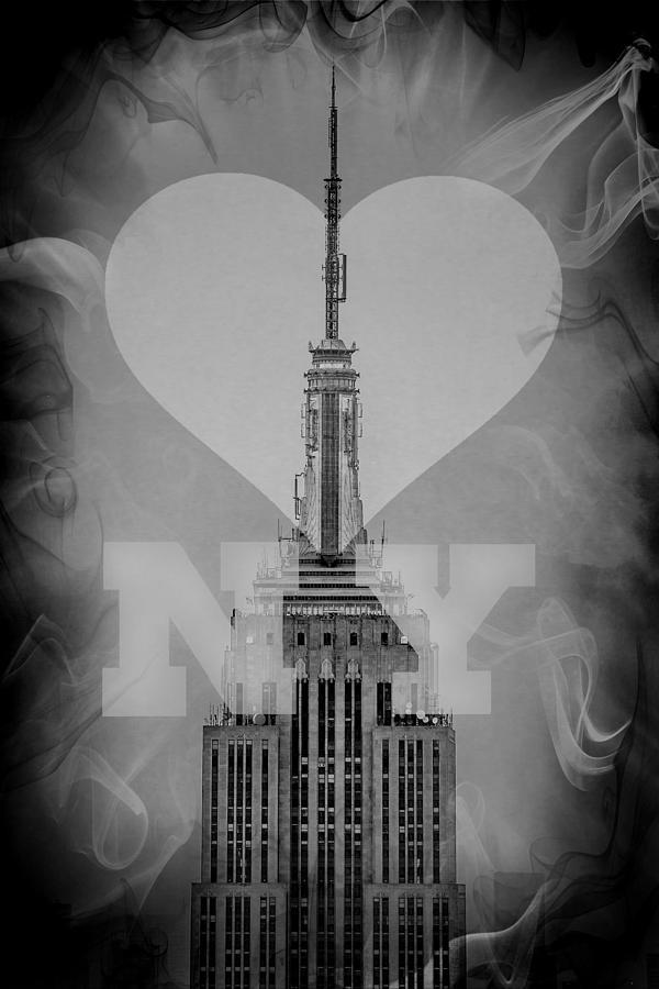 New York Digital Art - Love New York Bw by Az Jackson