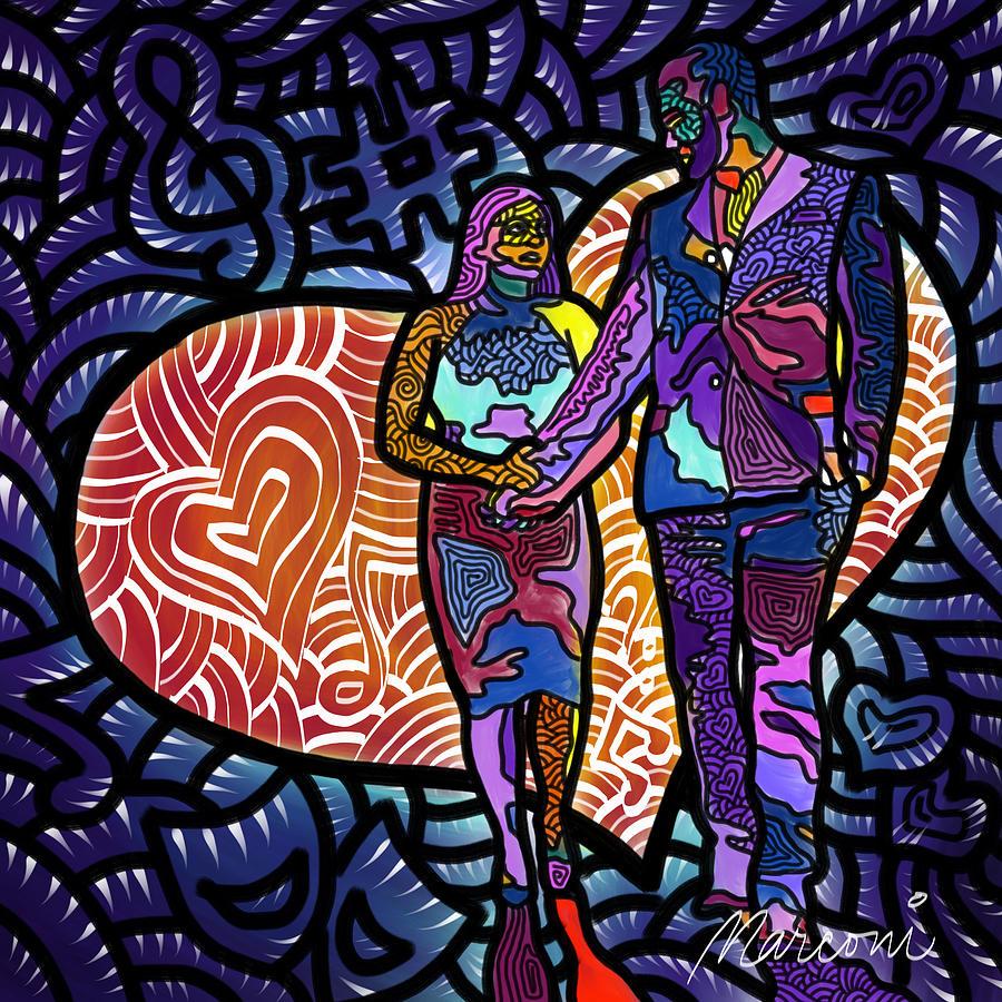 Wedding Digital Art - Love On High Notes by Marconi Calindas