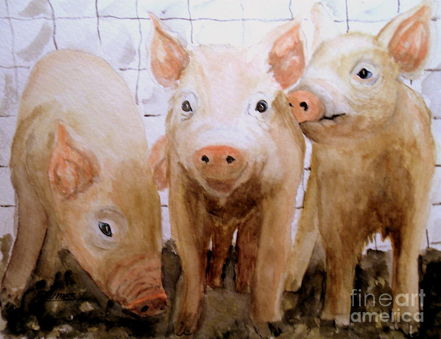 Piglets Painting - Love On The Farm  by Carol Grimes