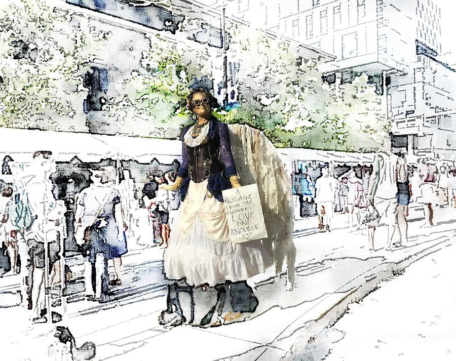 Love One Another Photograph - Love One Another - Steampunk Angel by Marianna Mills