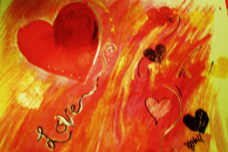 Hearts Greeting Card - Love by Sheila J Hall