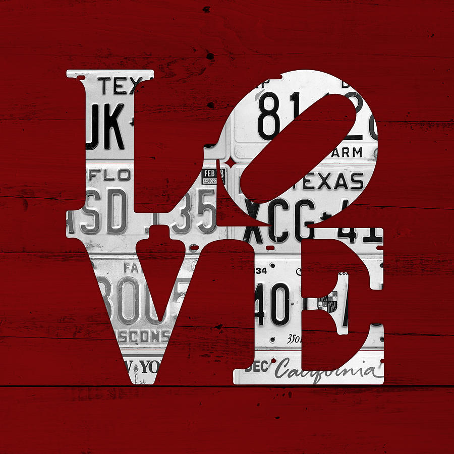 Love Mixed Media - Love Sign Vintage License Plates On Red Barn Wood by Design Turnpike