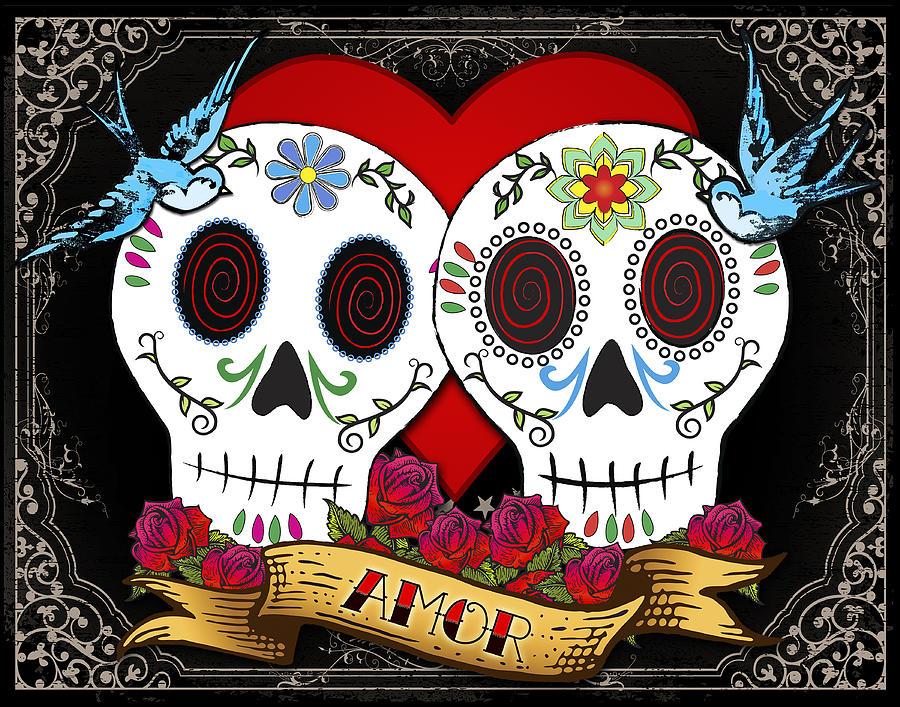 Sugar Skull Drawing - Love Skulls II by Tammy Wetzel