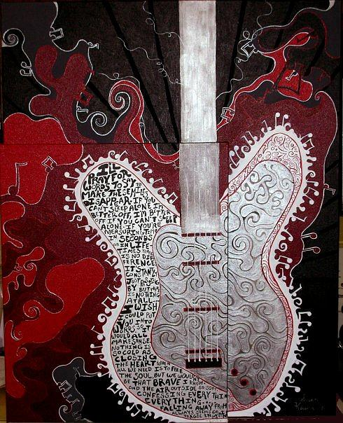 Guitar Painting - Love Song by Susan Clausen