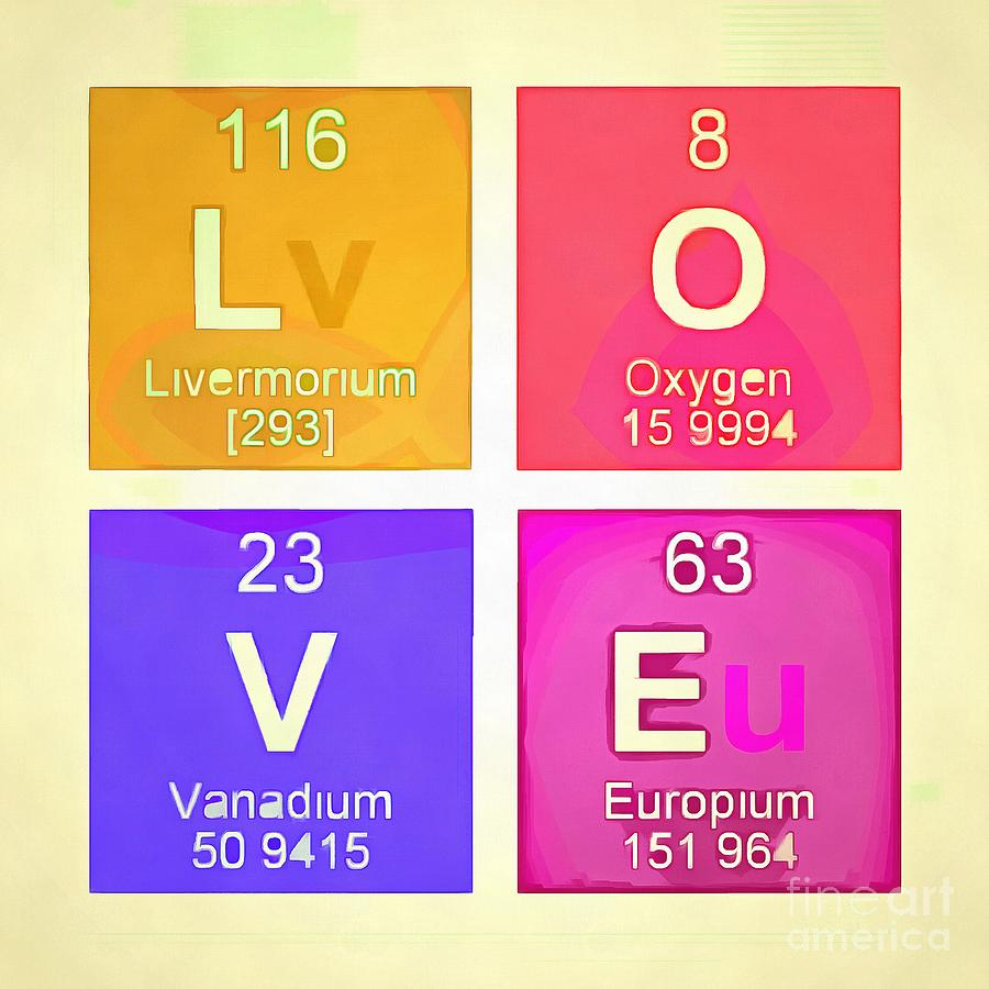 Love Square Periodic Table Elements Photograph By Edward Fielding