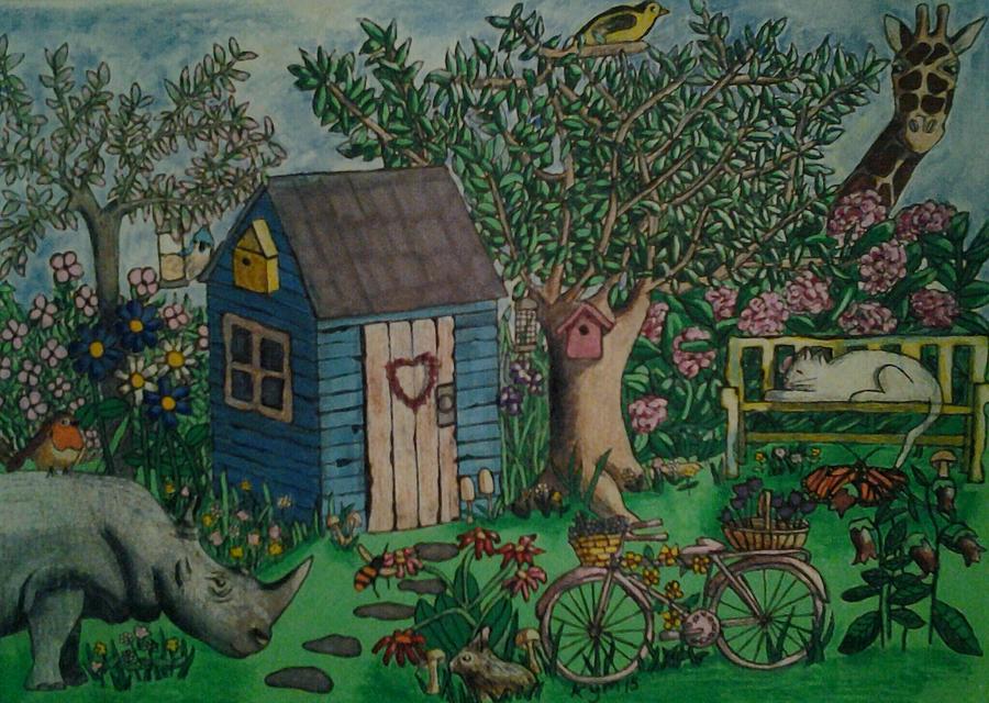 Fantasy Landscape Drawing - Love Them Rhinos by Kym Petrie Elliott