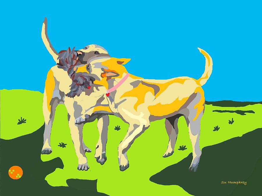 Yellow Labs Digital Art - Love Tugs....the Rope Pull by Su Humphrey