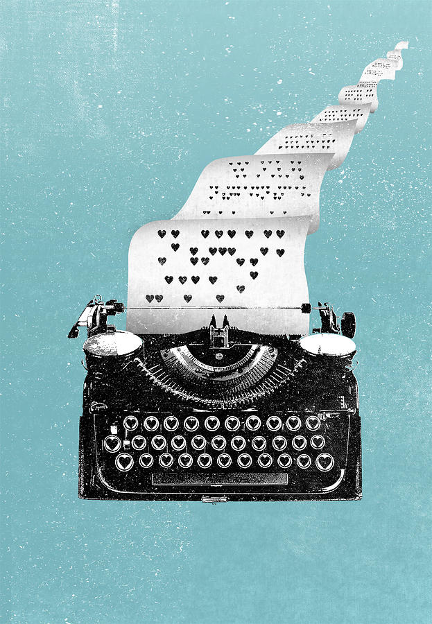 Love Digital Art - Love typewriter poster by IamLoudness Studio