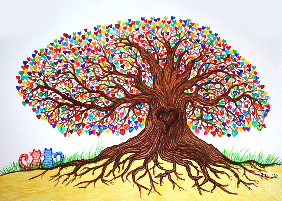 Love Under The Tree Of Hearts Drawing