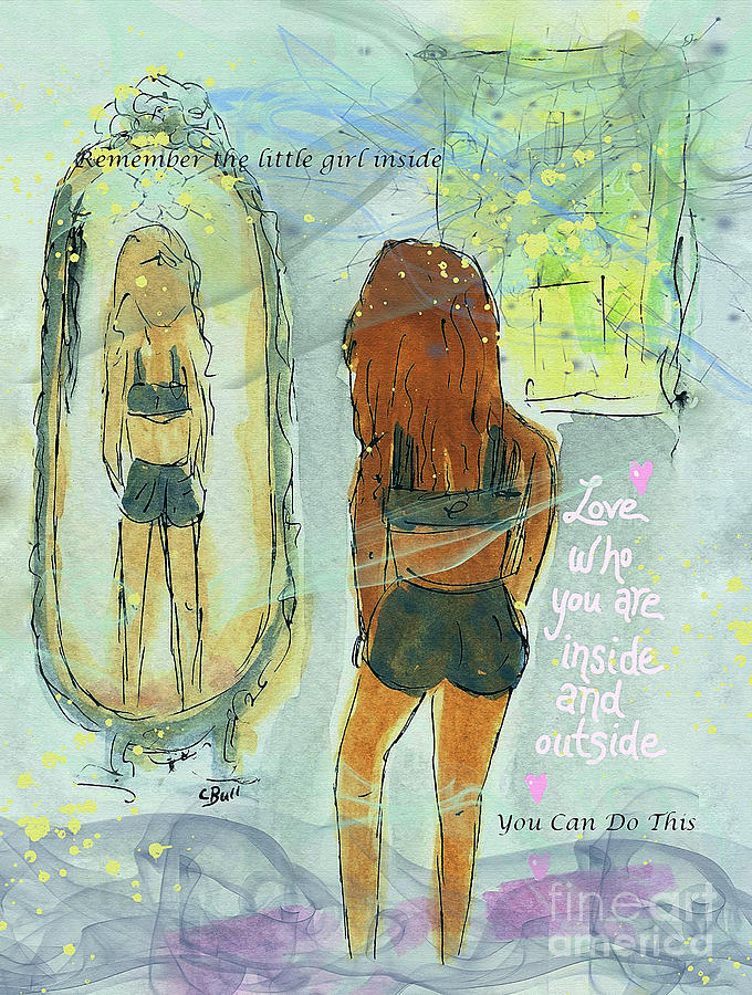 Girl Mixed Media - Love Who You Are  by Claire Bull