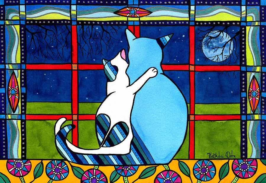 Cat Painting - Love You Mom by Dora Hathazi Mendes