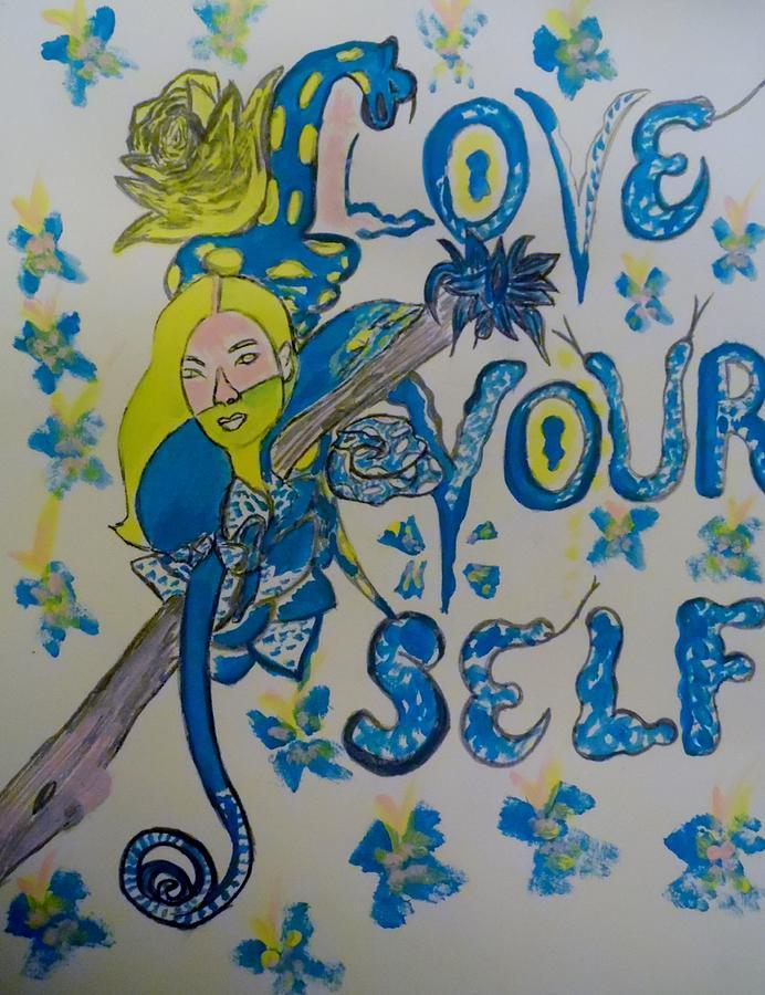 Mixed Media Mixed Media - Love Yourself by Nicole Burrell