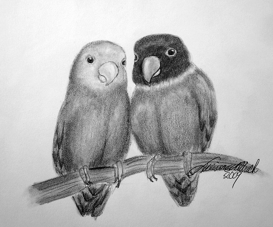 Lovebirds Drawing By Allison Aldrich