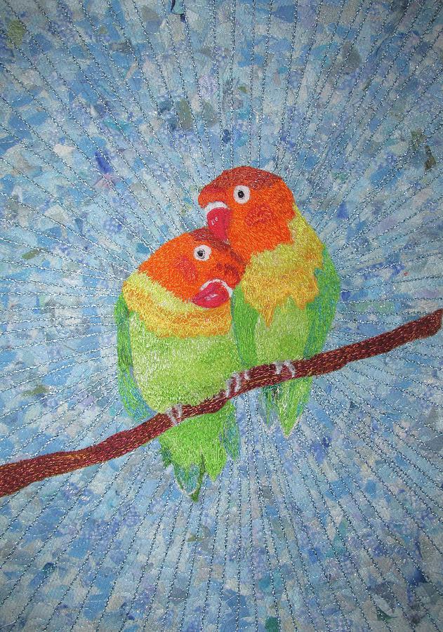 Lovebirds Tapestry - Textile - Lovebirds by Dolores Fegan