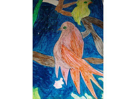 Bird Painting - Lovebirds by Golden Dragon