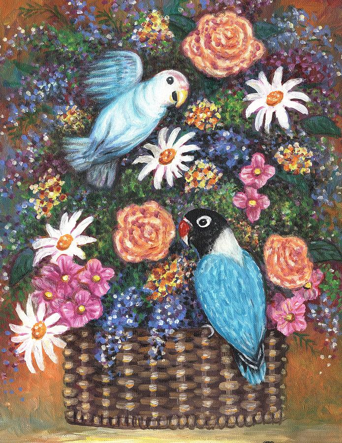Birds Painting - Lovebirds Two by Linda Mears