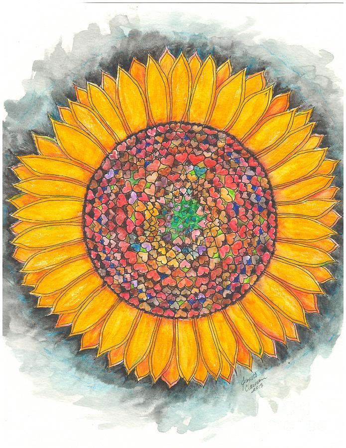 Loveing Sunflower Mandala Painting by Jeanette Clawson