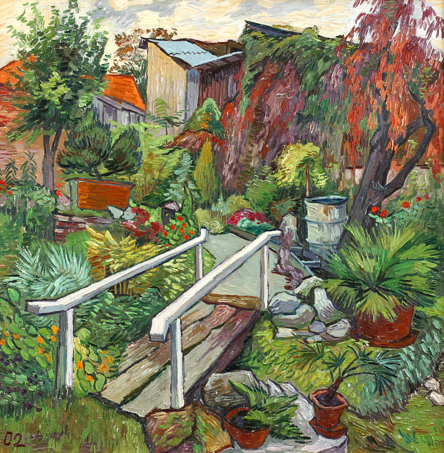 Landscape Painting - Lovely flower garden by Vitali Komarov