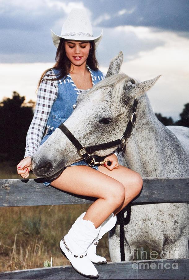 Girl Photograph - Lovely Girl and a Playful Horse by Steven Krull
