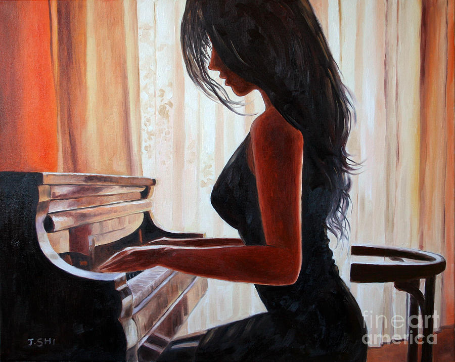Lovely Girl Playing Piano Painting by Jian Shi