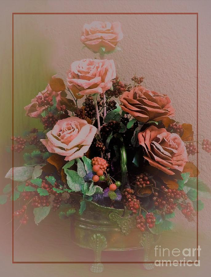 Painting Digital Art - Lovely Rustic Rose Bouquet by Delynn Addams